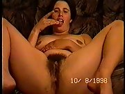 Holly spreads her gams and thumbs furry fuckbox and tongues fingers