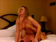 Blonde cuck cougar ejaculating on a stranger's man meat as her husband films