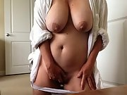 Huge boobed wifey pleases herself early morning