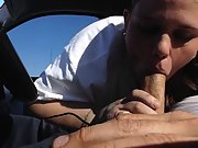 Plump trailer rubbish wife providing her husband a bj in the car and getting CIM