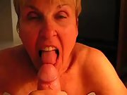 Mature blonde granny eating on my cock